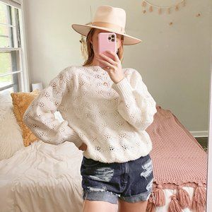 Vintage Hand Knit White Wave Stitch Sweater